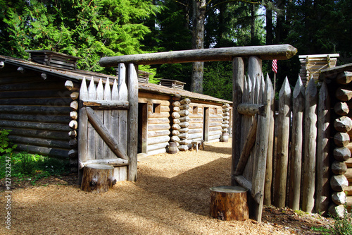 Stockade fence of Fort Clatsop Canvas Print