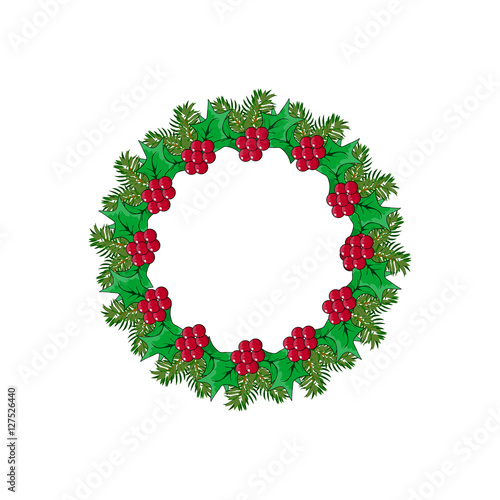 Christmas Wreath With Fir And Mistletoe Icon Symbol Design Vector Christmas Illustration Isolated On White Background Cartoon Vector Red And Green Holly Berry Decorative Xmas Wreath Buy This Stock Vector And