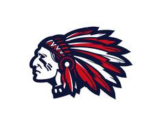 American Indian Chief Vector Logo Or Icon