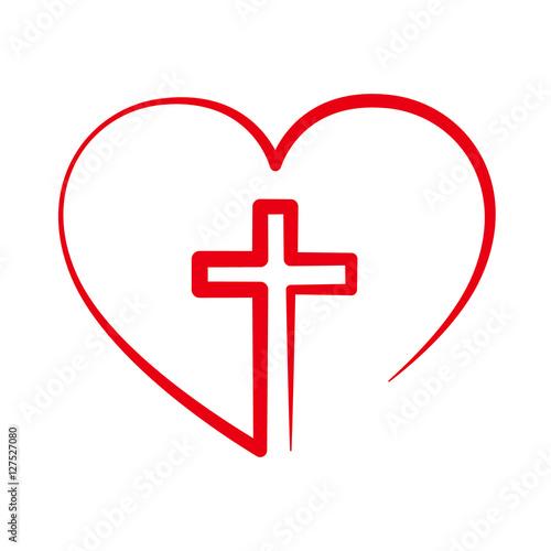 Leinwand Poster Christliches Kreuz im Herzen. Vektor-Illustration.