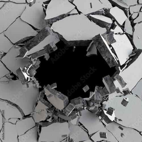 Zdjęcie XXL 3d odpłacają się, 3d ilustracja, wybuch, pękająca betonowa ściana, dziura po kuli, zniszczenie, abstrakcjonistyczny tło