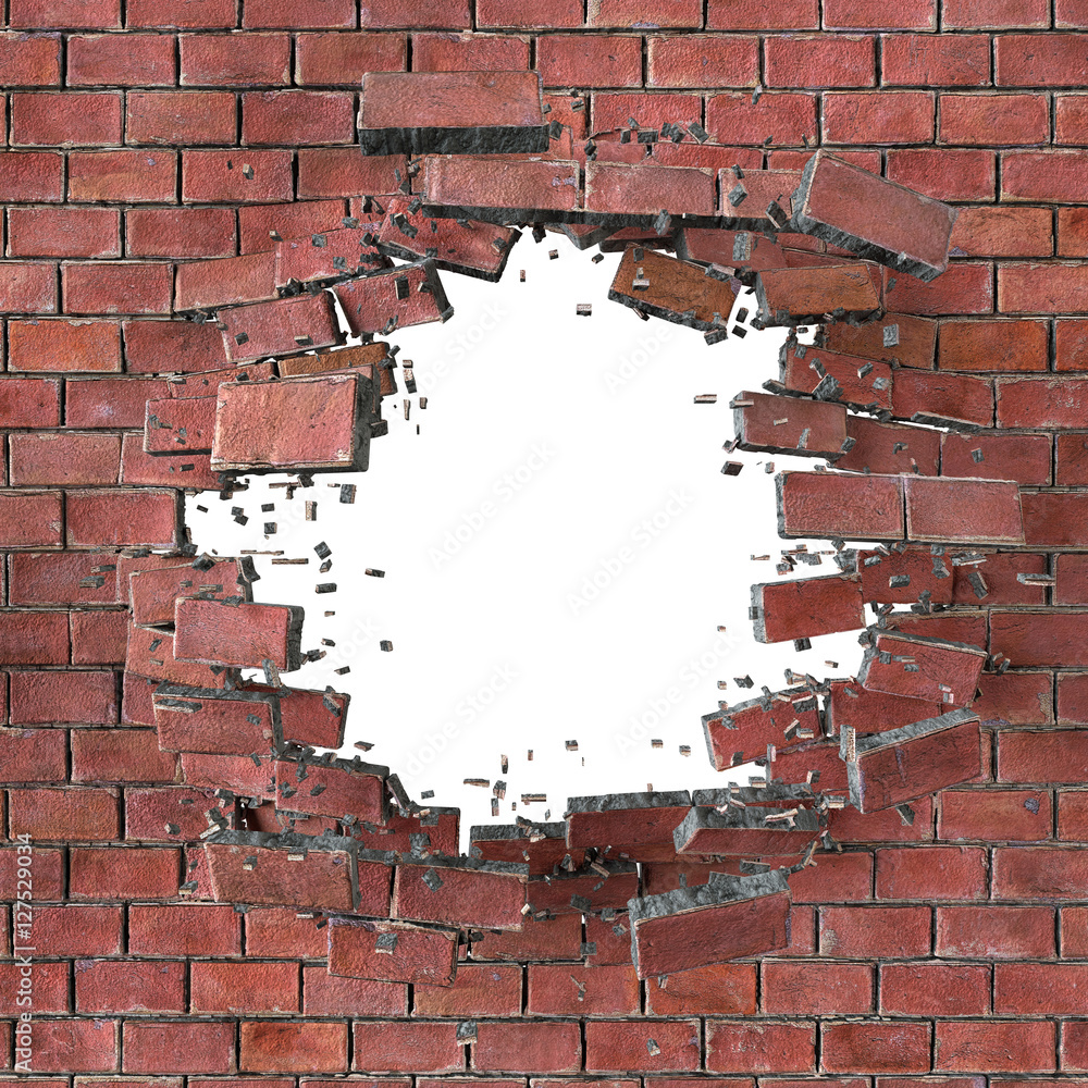 3d render, 3d illustration, explosion, cracked red brick wall, b