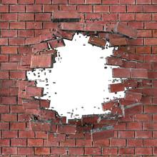 3d Render, 3d Illustration, Explosion, Cracked Red Brick Wall, B
