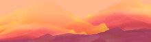 Abstract Smooth Blurred Mountain Landscape Panorama - Vector Ill