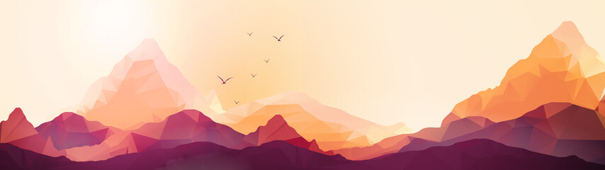 Geometric Mountain and Sunset Background Panorama - Vector Illus