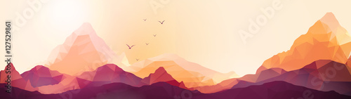 Ingelijste posters Wit Geometric Mountain and Sunset Background Panorama - Vector Illus