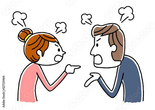 Stampa su Tela カップル、夫婦:ケンカ、言い争い
