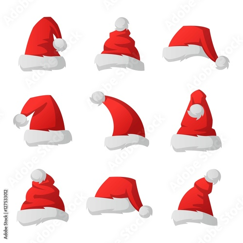 Fototapeta Santa christmas hat vector illustration. obraz