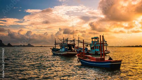 Fishing boat  in the sea Obraz na płótnie