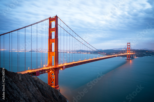 Golden Gate Bridge in San Francisco California after sunset Poster