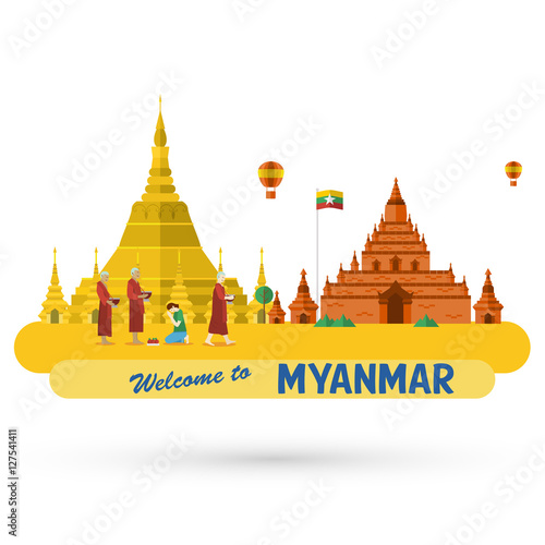 Foto  Flat design, illustration of Shwedagon Pagoda and Bagan ancient city