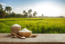 Asian White Rice Or Uncooked White Rice With The Rice Field Back