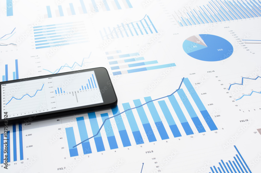 Fototapety, obrazy: Many charts and graphs. Concept image of data gathering. Accounting data and smart phone on gray reflection background.
