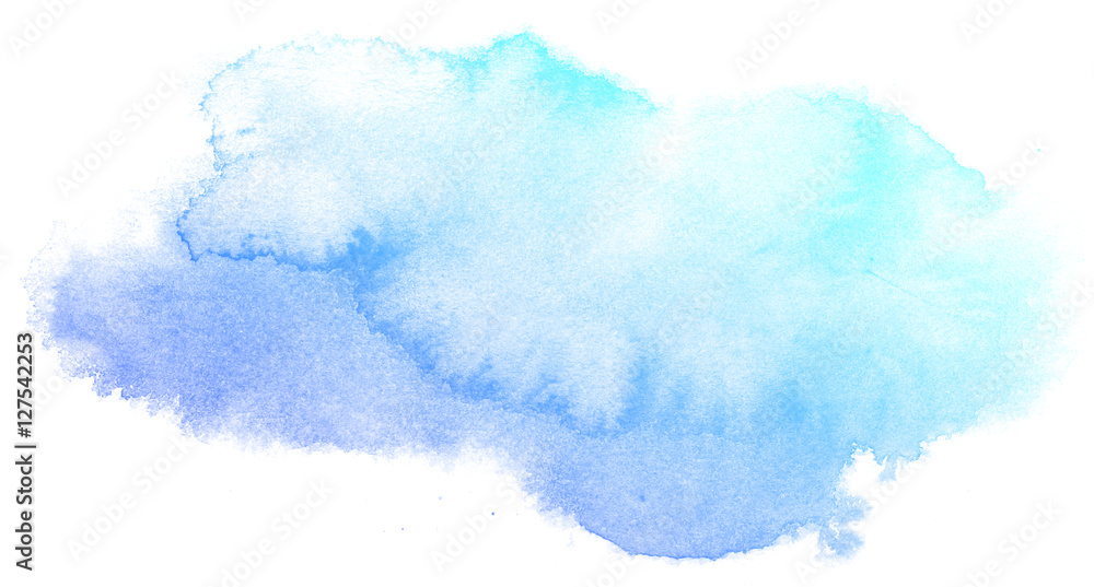 Fototapety, obrazy: Abstract blue watercolor on white background.This is watercolor splash.It is drawn by hand.