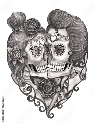 5f87dc7a8 Skull art day of the dead.Art design skull head wedding action smiley face  day of the dead festival hand pencil drawing on paper.