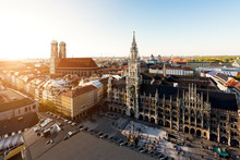 Aerial View On Munich Old Town Hall In Germany.