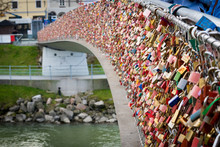 Close Up Of Padlocks As A Symbol Of Everlasting Love At A Bridge In Salzburg (Austria) Over The River Salzach