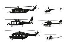 Black Helicopter Silhouette On...