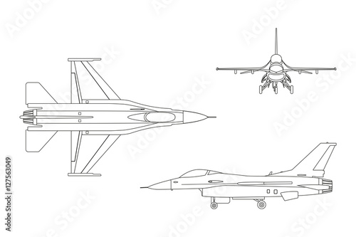 Fotografía Outline drawing of military aircraft. Top, side, front view