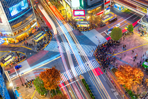Photo Aerial view of Shibuya District and Shibuya Crossing, Tokyo.