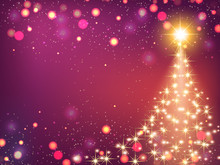 Shining Christmas Background With Christmas Tree, Vector Illustration.