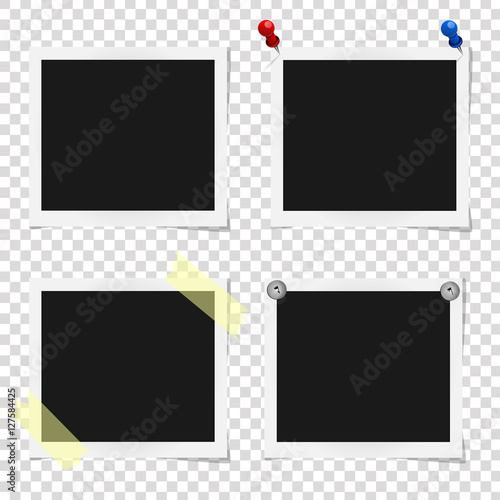 Set of realistic vector photo frames on sticky tape, pins and rivets ...