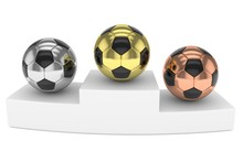 Three Gloss Soccer Balls On Wh...