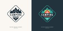 Camping And Outdoor Adventure Retro Logo.