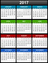 2017 Vector Calendar Sundays First