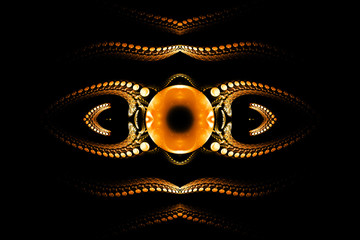 Plakat Eye of darkness. Abstract fantasy psychedelic ornament on black background. Symmetrical pattern. Computer-generated fractal in orange and white colors.