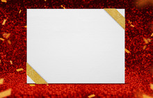 Blank Poster With Ribbon At Perspective Red Sparkling Glitter With Gold Confetti,holiday And Event Greeting Card Design,Leave Space For Text