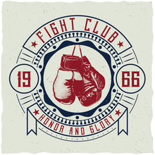 Label Design With Illustration Of Boxing Gloves For T-shirts, Posters, Greeting Cards Etc.