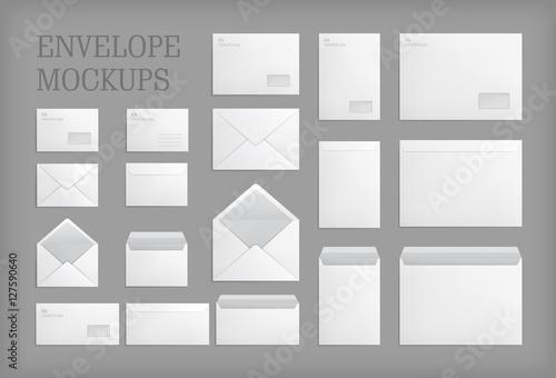 Fotomural Set of standard white paper envelopes for office document or message