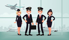 Aircraft Personnel. The Crew Of Civil Airplane In The Airport Bu