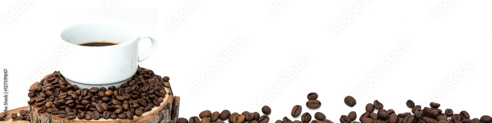 isolated cup of coffee and beans