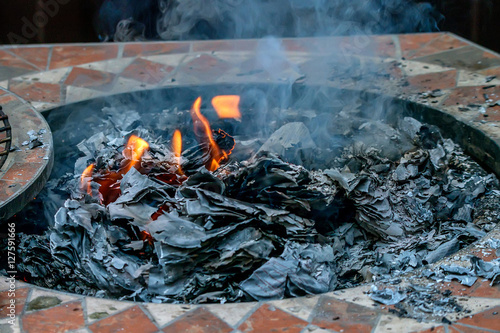 Fireplace With Fire And Ashes Buy This Stock Photo And