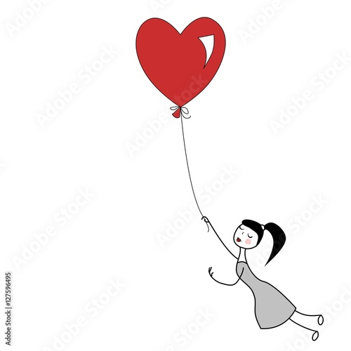 Girl holding the string of flying red heart balloon. Poster