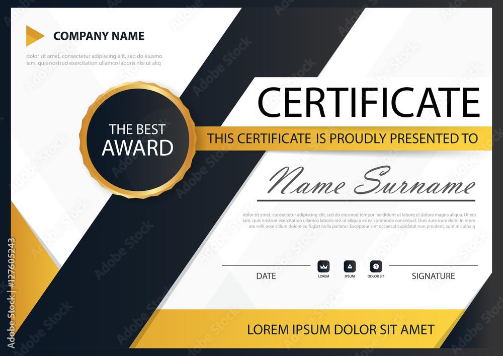 Fototapety, obrazy: Yellow black Elegance horizontal certificate with Vector illustr
