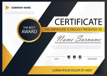 Yellow Black Elegance Horizontal Certificate With Vector Illustr