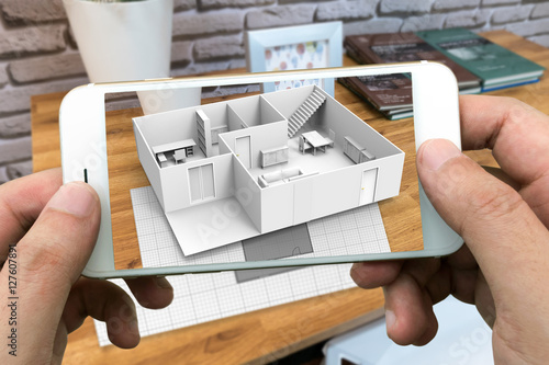 Photo Augmented reality marketing concept for architecture