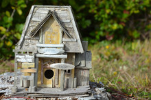 Wooden Toy Motel. Closeup View