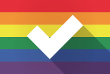 Long Shadow Lgbt Flag With A Check Mark