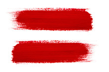 Red Brush Stroke Isolated On G...