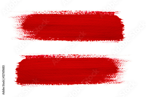 Fototapeta Red brush stroke isolated on grunge background