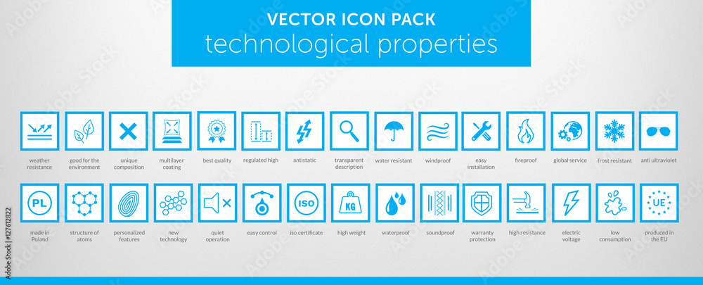 Fototapeta Properties of things VECTOR ICON SET vol. 4