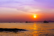 Beautiful landscape. sunset on the beach with fishing boat