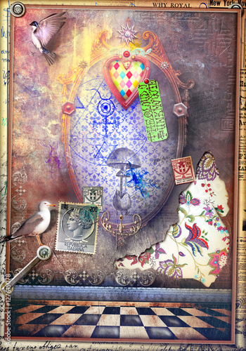 Foto op Aluminium Imagination Bewitched mirror with magic mushroom and heart
