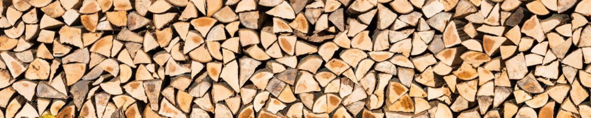 Holzscheite als Textur und Panorama Hintergrund
