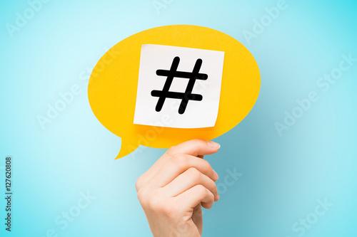 Fototapeta  Hashtag post viral web network media tag business.