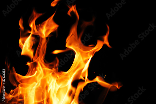 Fototapety, obrazy: burning fire flame on the black background
